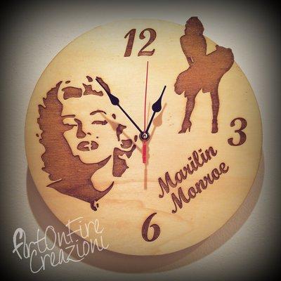 Orologio in legno da parete Marilin Monroe personalizzabile