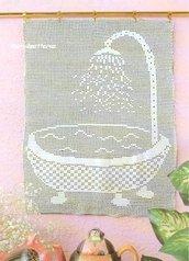 Schema PDF - Tende filet a uncinetto - Pannello doccia - decorazioni per la casa -
