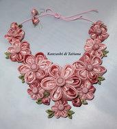 Collana kanzashi con fiori 3.0