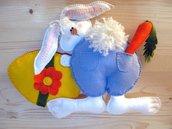 Schema Coniglietto con uovo- animali di pezza - Coniglietto per Pasqua- miniatura -decorazione