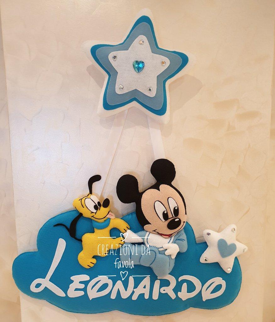 Fiocco nascita personalizzato topolino