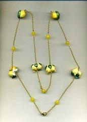 COLLANA con limoni in ceramica di Caltagirone e agata gialla