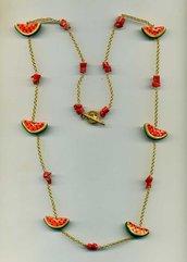 COLLANA a catenina con fette di anguria in ceramica di Caltagirone e corallo vero grezzo