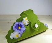 Schema PDF Cestino con pansè - fiori di stoffa - Cestino pasquale - decorazione per la casa e per la festa della mamma
