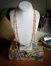 Collana doppio giro / perle vetro sfaccettate arancione-giallo / filo dorato