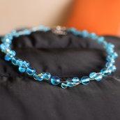Collana girocollo intreccio perle tonde vetro azzurro AB