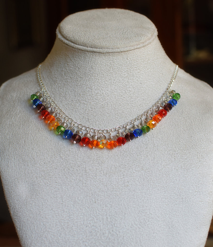 Collana girocollo arcobaleno perle vetro sfaccettate