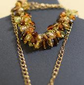 Bracciale perle mezzo cristallo sfaccettate multicolor montate su catena dorata