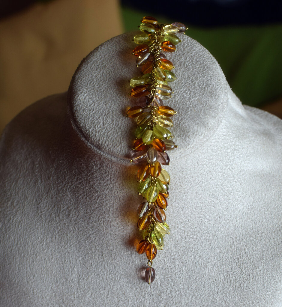 Bracciale perle vetro ovali multicolor montate su catena dorata