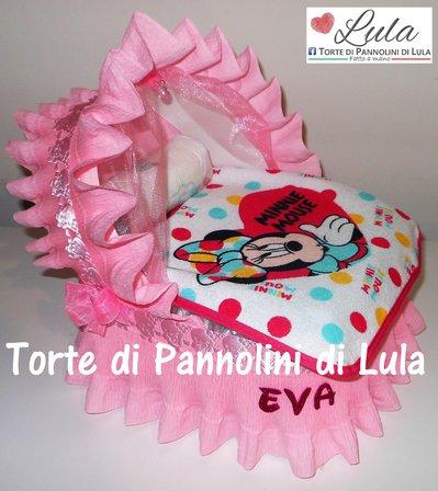 Torta di Pannolini Pampers Carrozzina Culla MINNIE idea regalo baby shower nascita battesimo compleanno originale utile