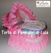 Torta di Pannolini Pampers Carrozzina Culla idea regalo baby shower nascita battesimo
