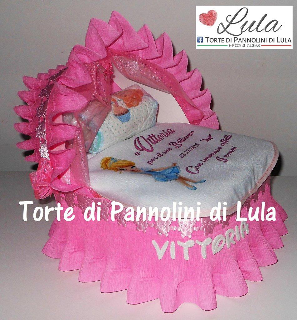 Torta di Pannolini culla carrozzina Pampers Baby Dry + bavaglino personalizzato