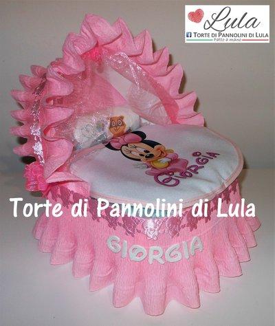 Torta di Pannolini culla carrozzina grande Pampers Baby Dry + bavaglino personalizzato