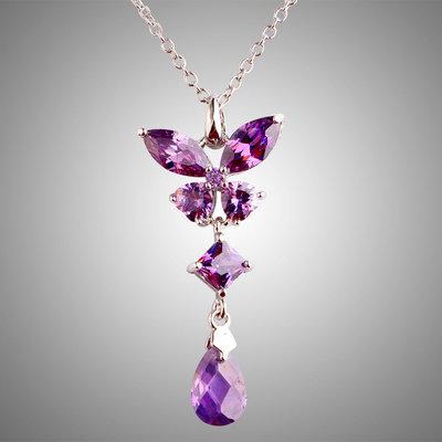 Collana donna con ciondolo farfalla rombo e goccia vere ametiste pietre dure naturali chakra cristalloterapia