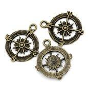 10 charms ciondoli bussola bronzo 29x25mm