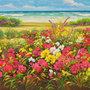 Spiaggia - dipinto olio su tela  cm. 90 x 30