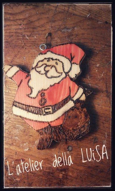 Decorazione Natalizia - Babbo Natale in legno