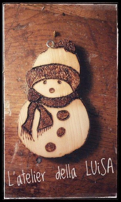 Decorazione Natalizia - Pupazzo di Neve in legno