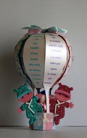 Mongolfiera nascita - porta confetti- gemelli