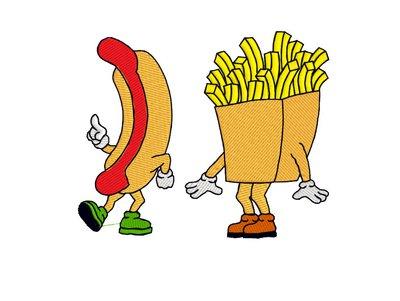 Hot dog e patatine ricamo digitale, embroidery design. INSTANT DOWNLOAD zip + pdf