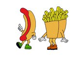 Hot dog e patatine ricamo digitale, embroidery design. INSTANT DOWNLOAD zip + pdf