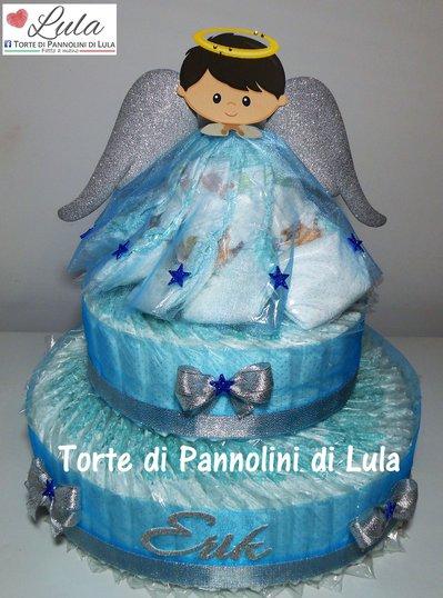 Torta di Pannolini Pampers angelo angioletto grande idea regalo nascita battesimo baby shower