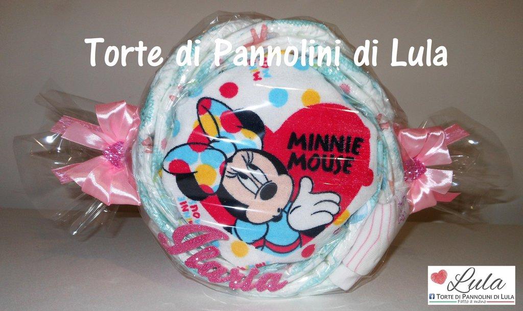 Torta di Pannolini Pampers caramella MINNIE TOPOLINO personalizzata idea regalo nascita battesimo baby shower