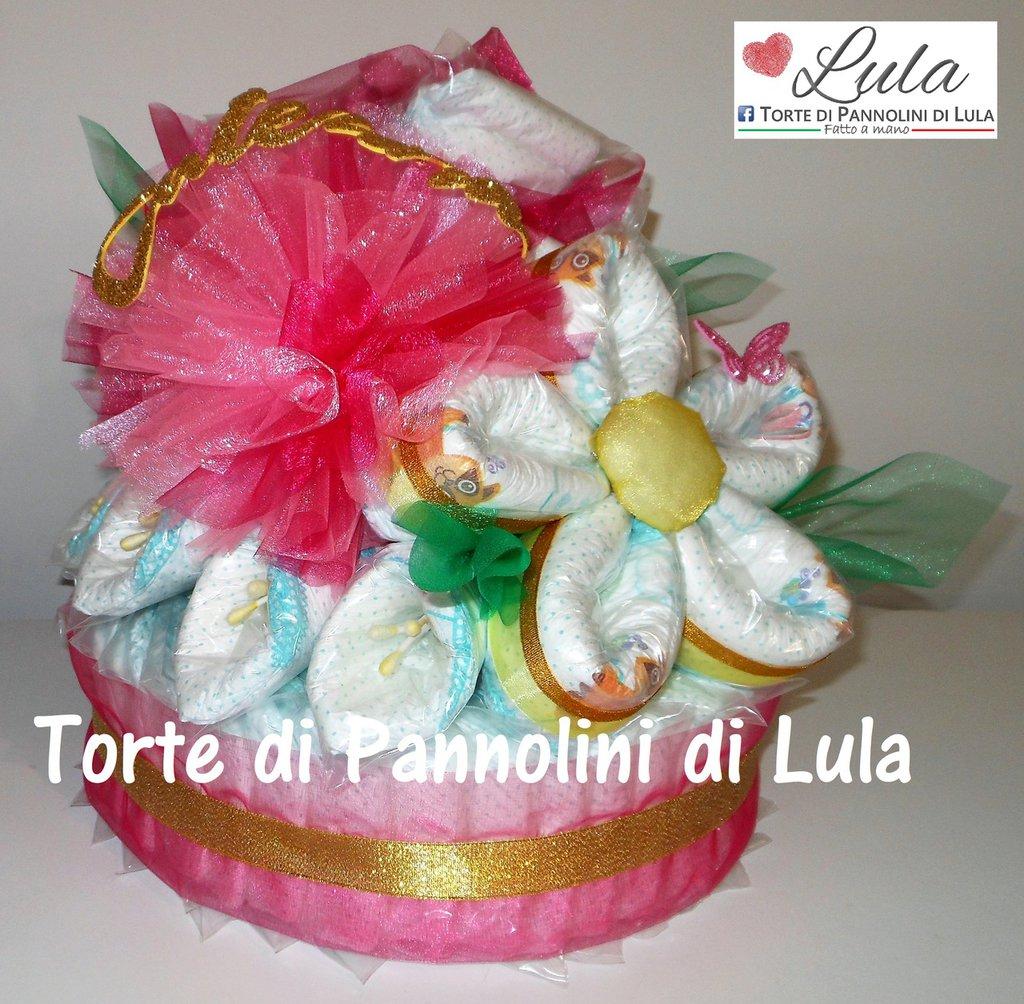 Torta di Pannolini Pampers baby dry bouquet FIORI mazzo rose nascita battesimo baby shower