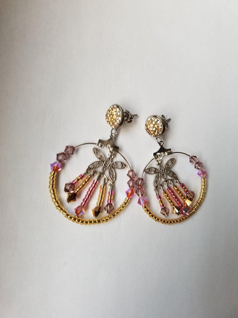 Orecchini Cerchio Butterfly Gold & Rose