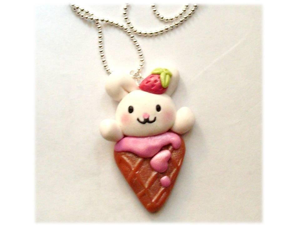 Collana bunny kawaii- coniglietto su gelato