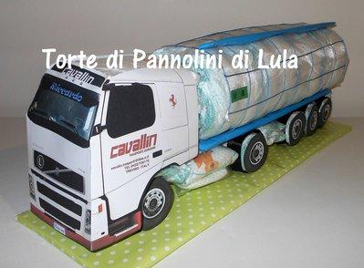 Torta di Pannolini Pampers CAMION AUTOBOTTE idea regalo nascita battesimo baby shower maschio...
