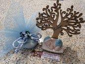 Bomboniera albero della vita con bimbo/bimba in polvere di ceramica