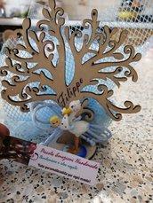 Bomboniera con albero della vita e cicogna bimbo