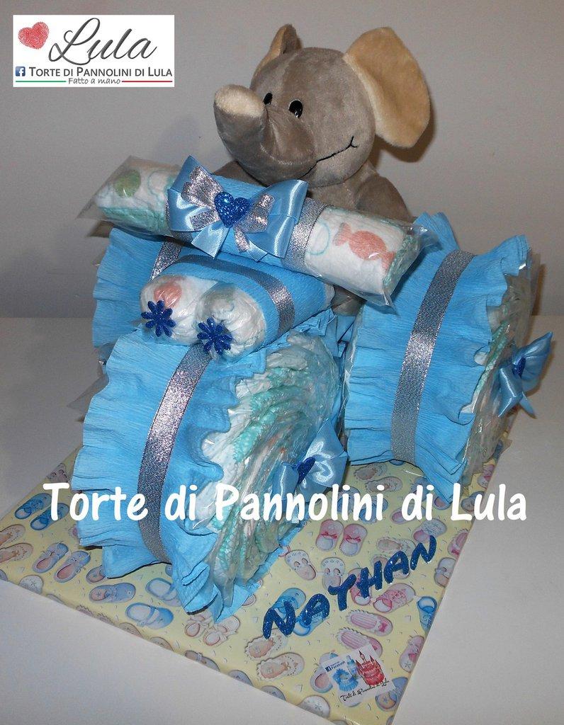Torta di pannolini TRICICLO Pampers + peluche Idea regalo nascita battesimo baby shower