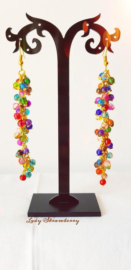 Orecchini pendenti in vetro - Gocce d'arcobaleno