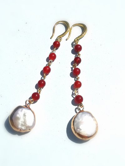 orecchini con agata rossa e perla coltivata