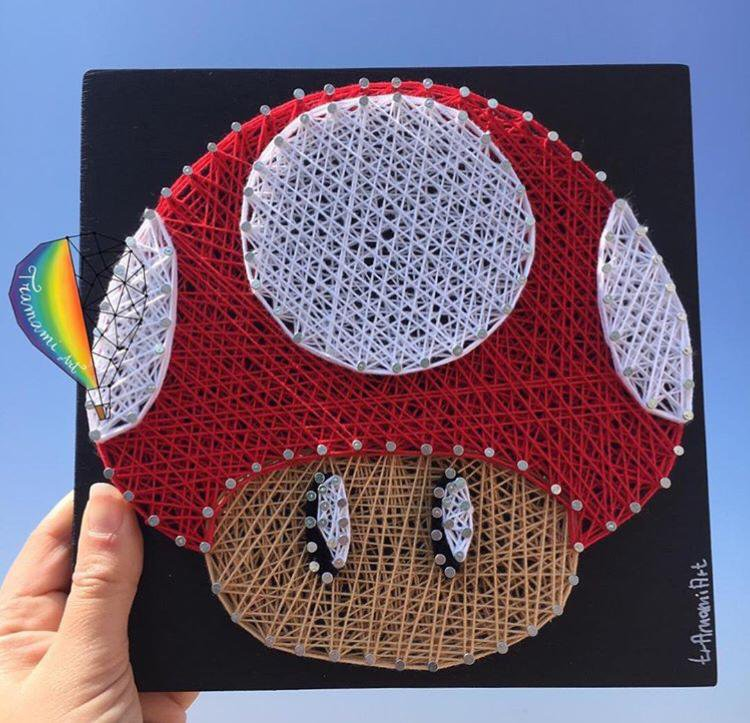 Quadro funghetto Mario Bros in String Art