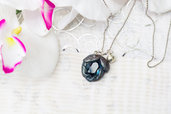 collana in fimo blu notte, necklace in fimo, crystal sfaccettato, clay mermaid, clay crystal,