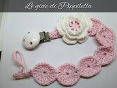 Catenella portaciuccio crochet con fiore bianco, idea regalo.