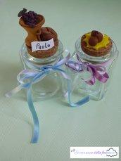 Vasetti in vetro decorazione in fimo per comunione o cresima
