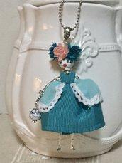Collana dolls Frida Kahlo, collana con ciondolo bambolina di ceramica