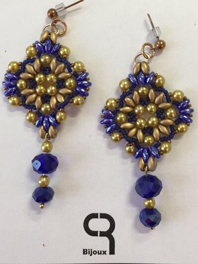 Orecchini pendenti oro/blu