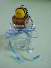 Bomboniera vasetto vetro con portachiavi in fimo