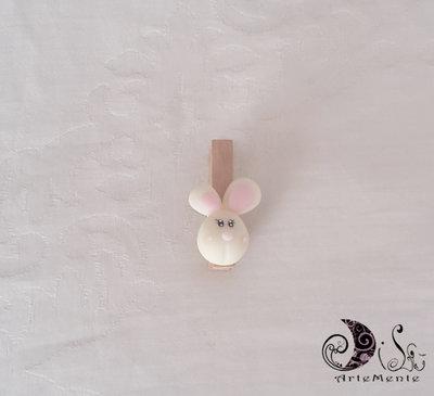 bomboniera coniglietto mollettina legno decorata personalizzabile