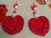 Orecchini cuore rossi