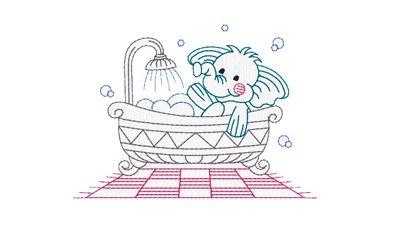 Elefantino fa il bagnetto ricamo digitale, embroidery design. INSTANT DOWNLOAD zip + pdf