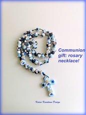 Rosario comunione, regalo comunione, Collana Rosario angeli in fimo fatto a mano e personalizzato, regalo religioso per cresima o comunione
