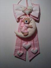 Fiocco nascita orsetto e luna - Fiocco nascita fatto a mano
