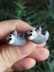 Gemelli uomo con bradipo in fimo, regalo per amanti del bradipo, gemelli sposo, regalo matrimonio per marito, gemelli da polso