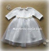 Abito vestito vestitino Battesimo bambina puro cotone, lino, tulle bianco con margherite